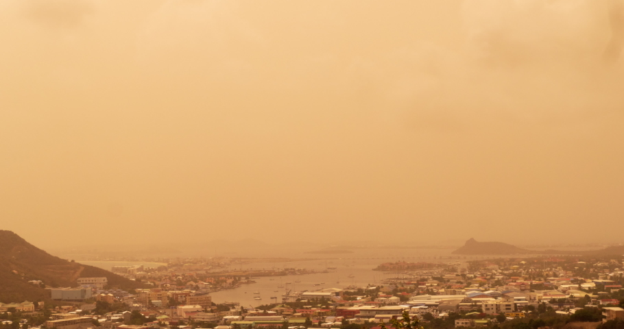 Sahara dust storm moving through the Caribbean islands affecting visibility and polluting certain areas.  The Sahara dust storm started in Africa in June 2020