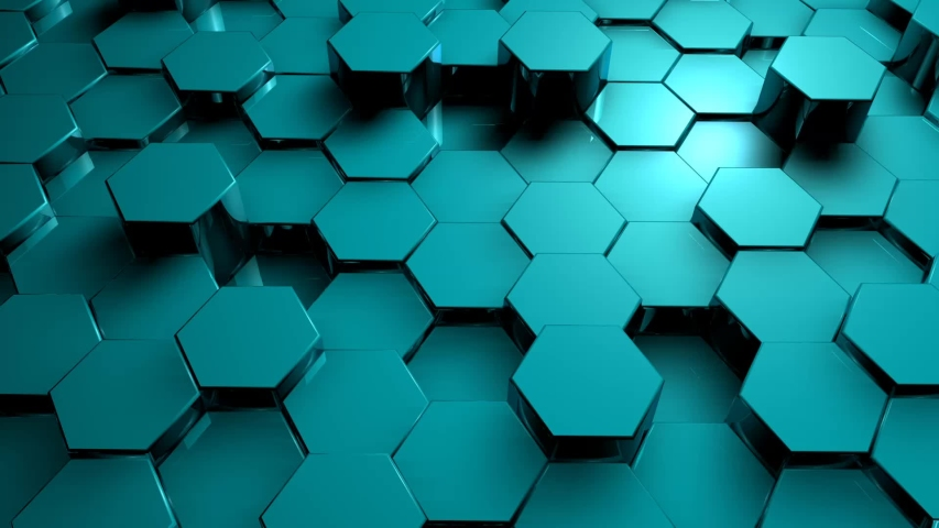 Abstract Blue hexagon geometric surface, black minimal texture with neon orange holographic glow, random fluctuation of the canvas movement background. Seamless loop 3D pattern digital motion graphics