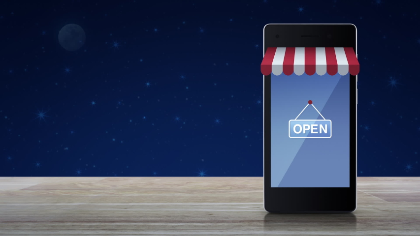 Modern smart mobile phone with online shopping store graphic and open sign on wooden table over fantasy night sky and moon, Business internet shop online concept | Shutterstock HD Video #1054928741