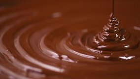 Chocolate. Pouring melted liquid premium dark chocolate. Close up of molten liquid hot chocolate swirl. Confectionery. Confectioner prepares dessert, icing. 4K UHD video, slow motion