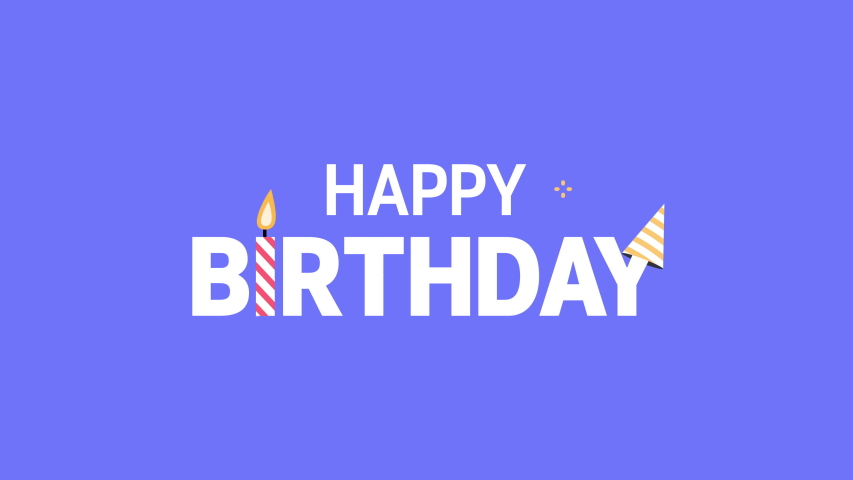 Happy Birthday Background. Animated happy birthday text with candle and party hat. Royalty-Free Stock Footage #1054932566