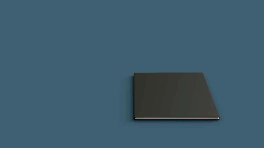 Notebook opening start black color cover and white clear paper inside book with 3d animation and rendering realistic look. | Shutterstock HD Video #1054936859