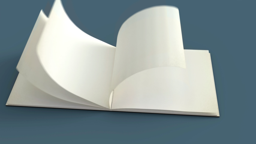 Flip opening book cover and inside 3d animation.Camera movement for present book.Show clean paper flip page by page and black cover book. | Shutterstock HD Video #1054936877