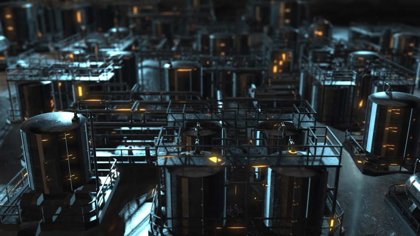 Industrial refinery factory plant petroleum oil and gas production - 3D Animation Render | Shutterstock HD Video #1054942418