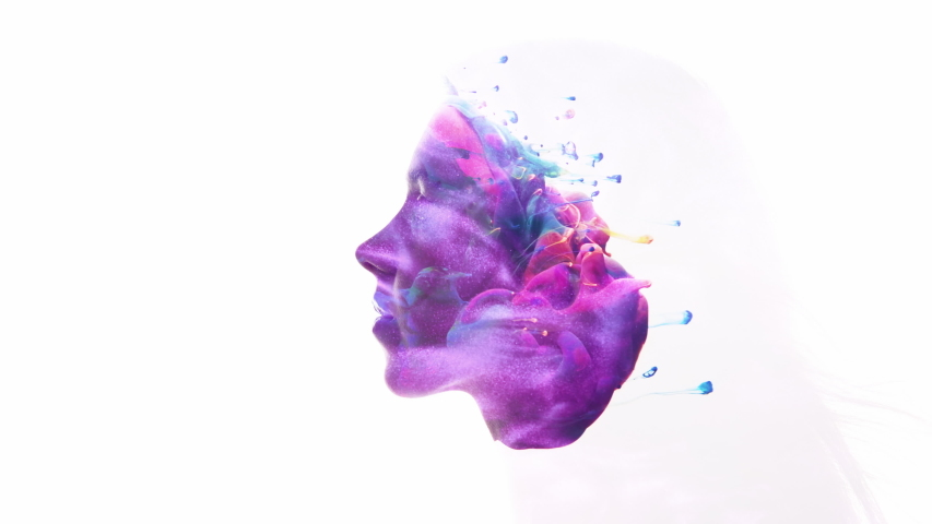 Surreal portrait. Spiritual universe. Colorful paint swirl in woman head silhouette double exposition isolated on white.