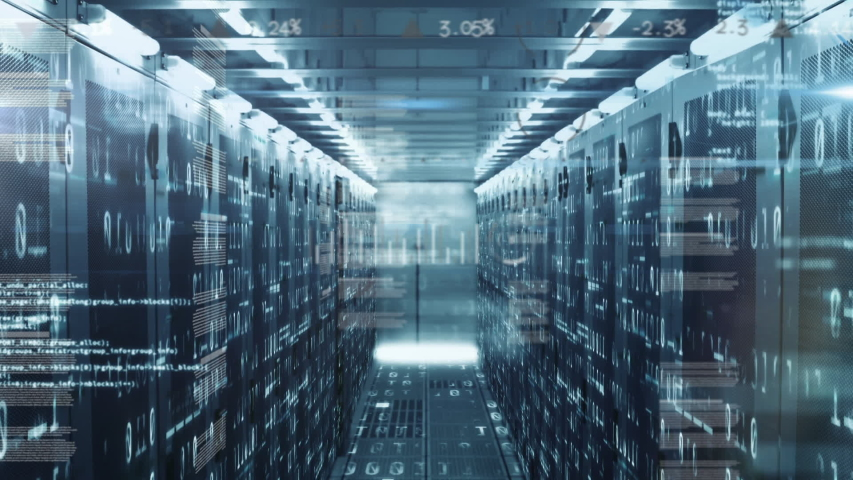 Animation of data processing, digital icons and digital information flowing through network of computer servers in a server room with white light trails flashing on surface. Global network of internet | Shutterstock HD Video #1054952624