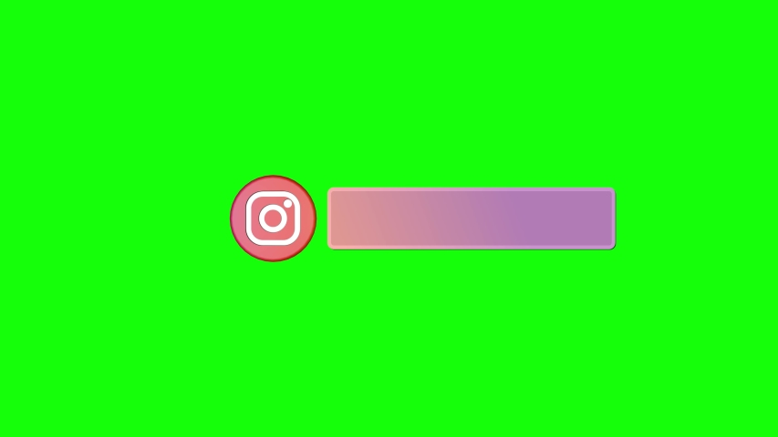 Editorial animation. 3D round spinning logo icon Instagram with lower thirds appears then twists and disappears. Green screen - Chroma key. Lower third border this is ready place for your text