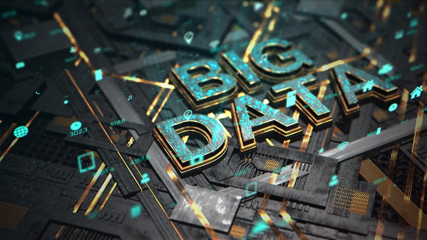 3D Render animation of big data intelligence in CPU chipset. Central processor unit and electric print circuit board with data traffic light on dark and grain processed