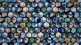 Background animation of hexagonal picture tiles. Business strategy. Science technology.