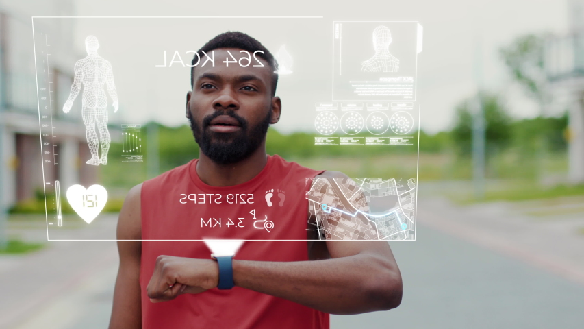 Active Black Runner Stops in the Street to Check His Heart Rate on Smartwatch. Portrait Healthy Afro-American Man Using Holographic Fitness Tracker While Running. 3D Render Animation.