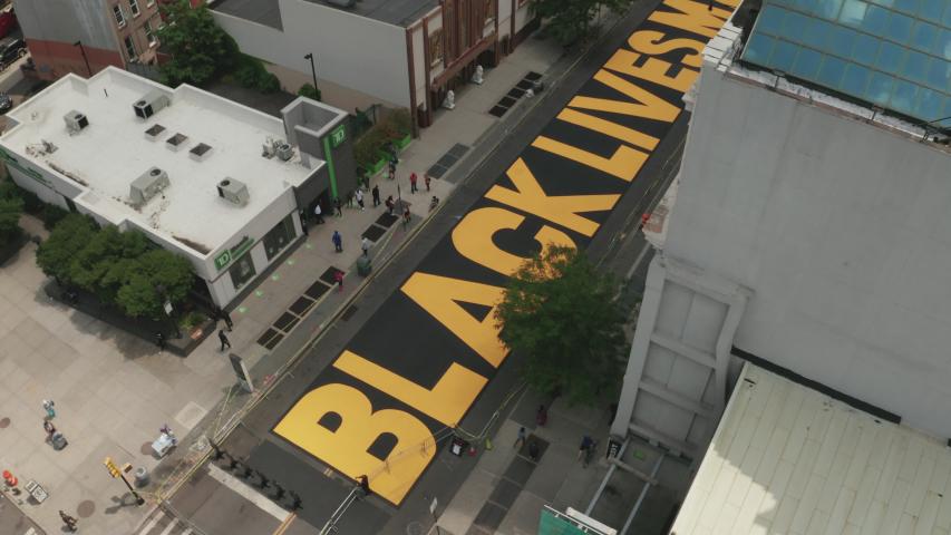 Aerial Drone Shot of Black Lives Matter Mural in Bed-Stuy, Brooklyn, New York - Shot on DJI Mavic 2 Pro on June 19, 2020