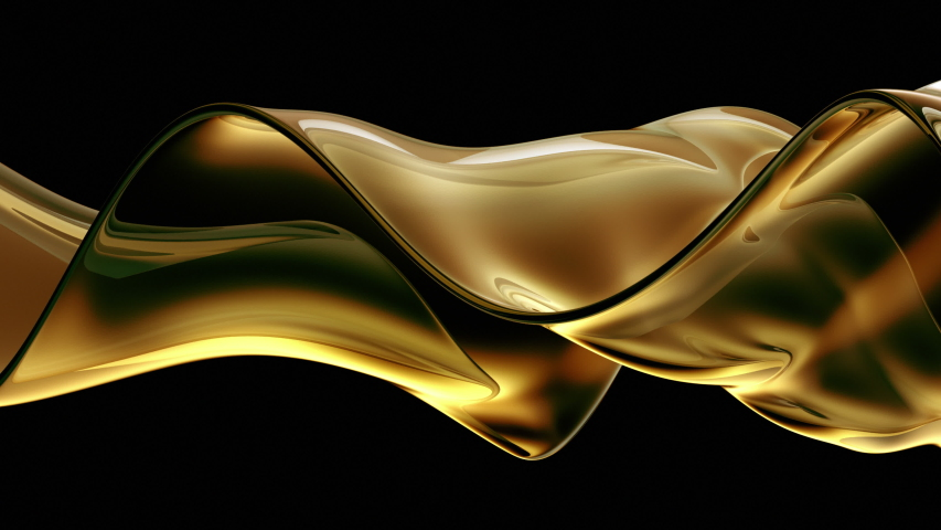 Spilling oil fluid isolated on black background. Swirling and Splashing Golden Oil in slow motion. Golden liquid seamless loop, close up view. Royalty-Free Stock Footage #1055044373