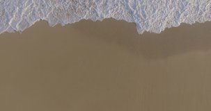 Small wave, Soft wave on sand beach for opening video, text space. white sand beach, Ocean Wave On Sandy Beach