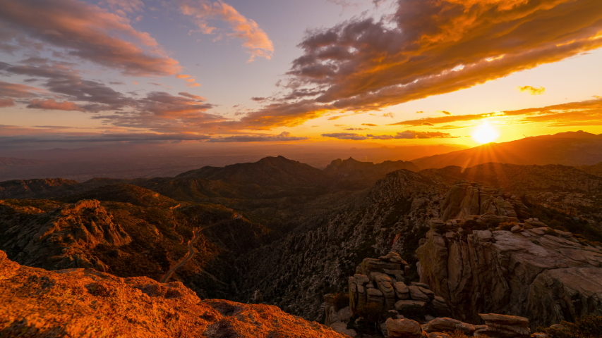 Time lapse tracking shot of epic sunset to night over Tucson at Mount Lemon in Arizona
