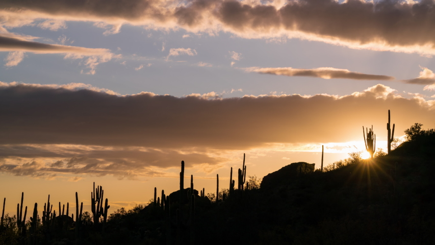 Time lapse of sunset over Saguaro cactus silhouette at Superstition Mountain in Arizona | Shutterstock HD Video #1055063201