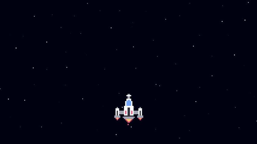 Retro Space Arcade. Video Game Animation Concept. Pixel Art. Spaceship collects coins in open space. Cartoon Motion Design. 4K video.