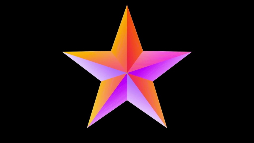 Rotating Five-Pointed Star. Multicolored Looped Element