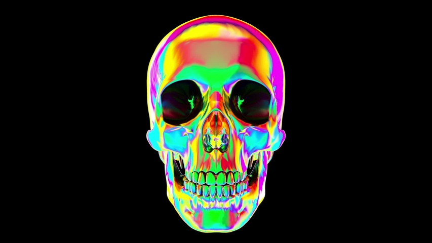 Rotating Skull. Multicolored Looped Element