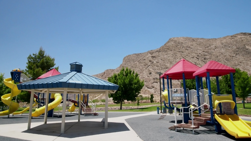 Sunny view of the playground at lone mountain, Las Vegas, Nevada | Shutterstock HD Video #1055070227