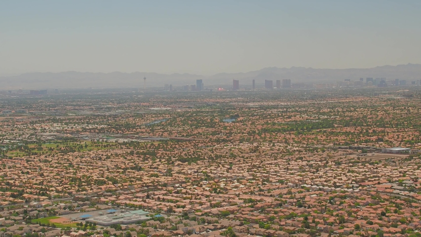 Aerial view of some cityscape from Lone Mountain at Las Vegas, Nevada