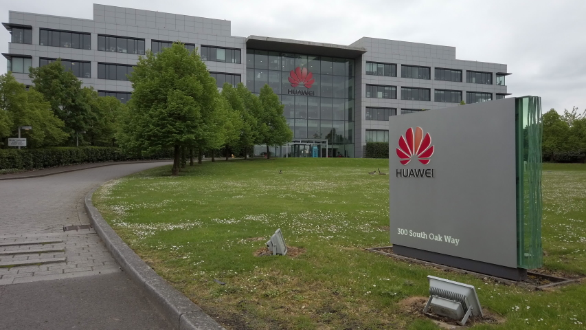 READING, UK - MAY 3, 2020: The regional office campus of Chinese telecoms company Huawei at 300 South Oak Way on the Green Park business estate in Reading, Berkshire, UK.