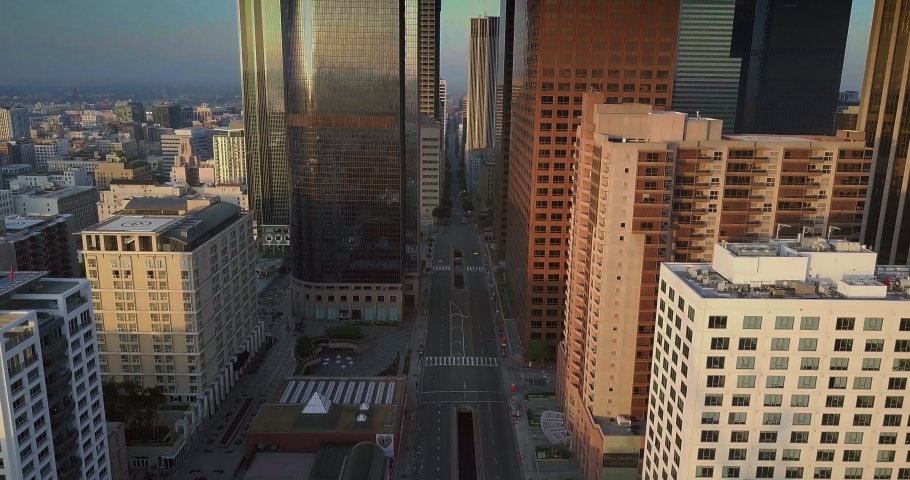 Epic Los Angeles Downtown Aerial Daytime Sunrise - Empty Street 4K -
