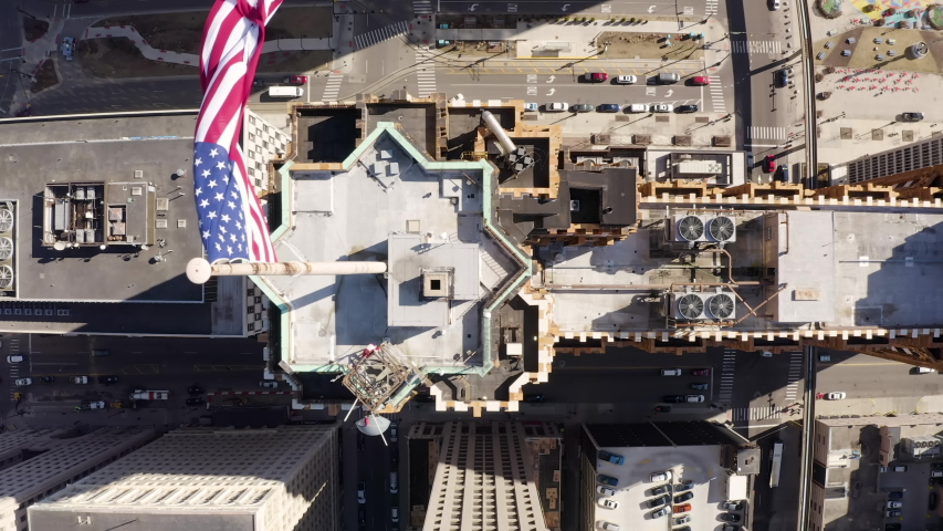 Incedible Straight Down Aerial Rooftops Flag Downtown