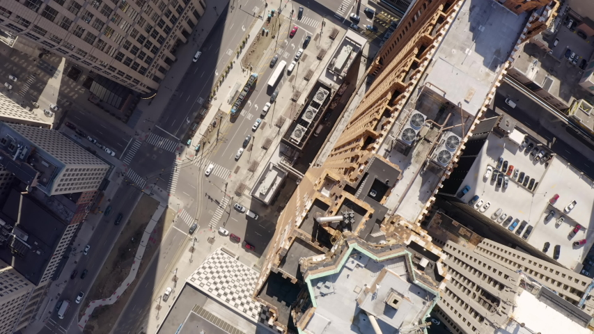 Aerial Straight Down Rotating Over Building Rooftops Downtown Detroit