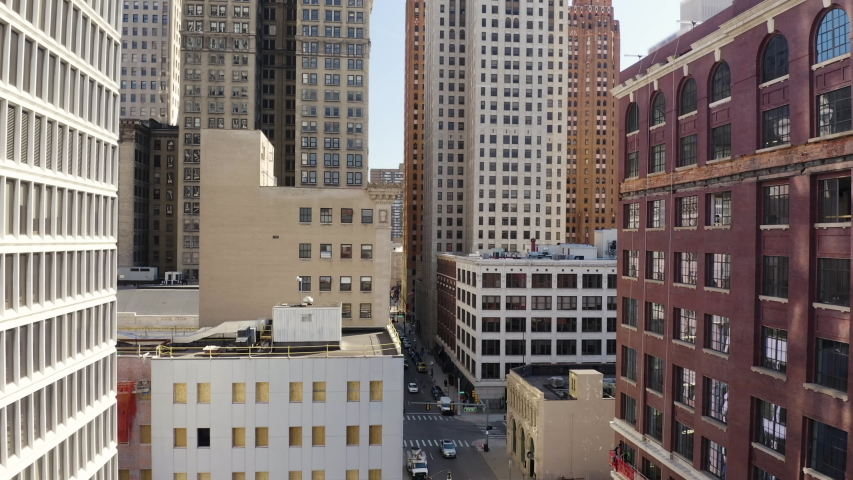 Downtown City Rising Aerial Climbing Between Buildings