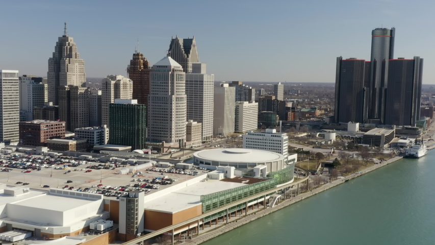 Morning Aerial Detroit Downtown Sunny Approaching City From River