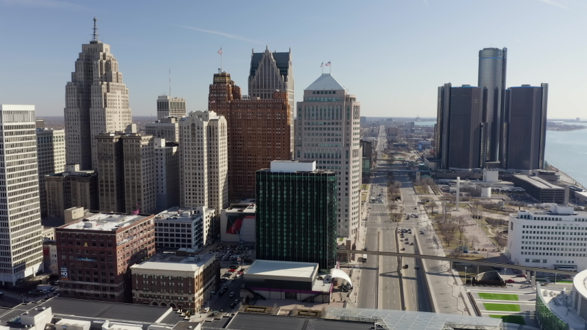 Aerial Detroit Downtown Morning Sunny Flying Right