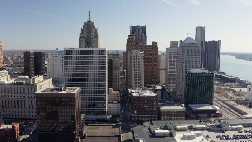 Aerial Flying Toward Downtown Buildings Detroit West Sunny