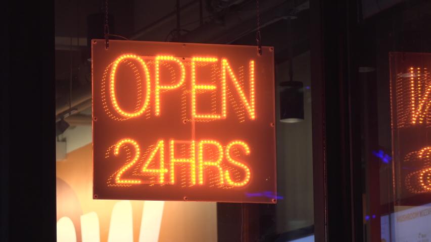 Open 24 hour sign at restaurant exterior 4k | Shutterstock HD Video #1055078591