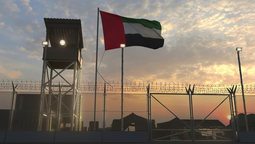 Flag of Uae at military base 3d
