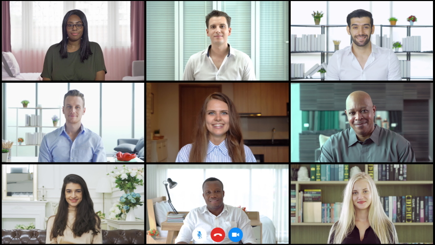 Multi ethnic group of business people working from home and office, talking to colleagues in webcam group video call conference technology on screen online in quarantine in corona virus pandemic. Team Royalty-Free Stock Footage #1055082596