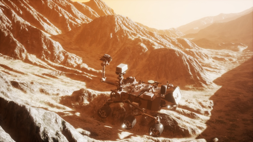 Curiosity Mars Rover exploring the surface of red planet. Elements of this image furnished by NASA.