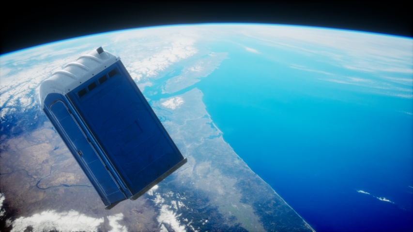 Portable street WC toilet cabin on Earth orbit. elements furnished by Nasa | Shutterstock HD Video #1055083160
