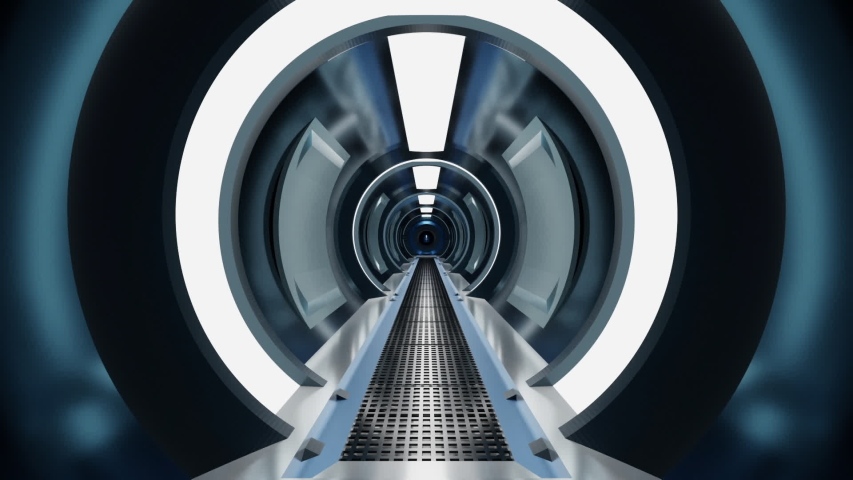 3d rendered Animation of a space station tunnel interior. | Shutterstock HD Video #1055094005
