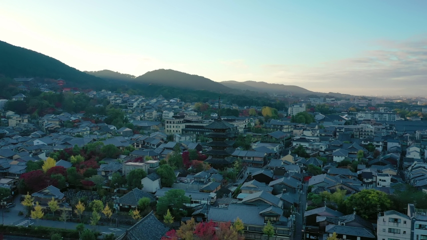 Aerial view 4k video by drone of Yasaka Pagoda in Kyoto city, Japan. | Shutterstock HD Video #1055103302