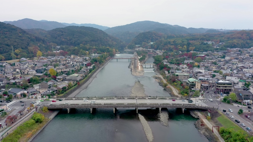Aerial view 4k by drone of river in Uji City, Kyoto, Japan. | Shutterstock HD Video #1055103329