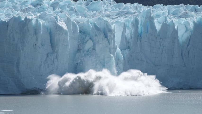 Perito Moreno glacier calving falling down in Patagonia Argentina in slow motion