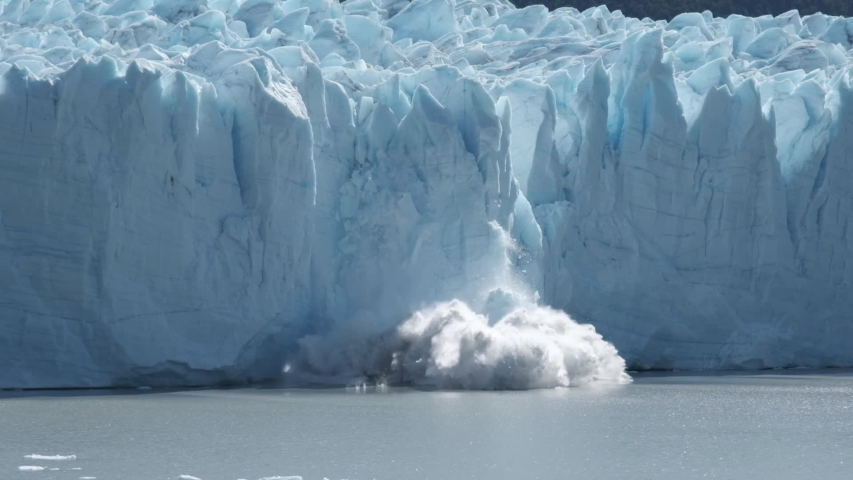 Perito Moreno glacier falling down in Patagonia Argentina in slow motion | Shutterstock HD Video #1055104025