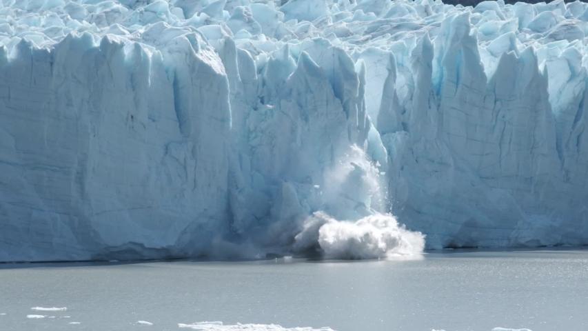 Perito Moreno glacier falling down in Patagonia Argentina in slow motion | Shutterstock HD Video #1055104028