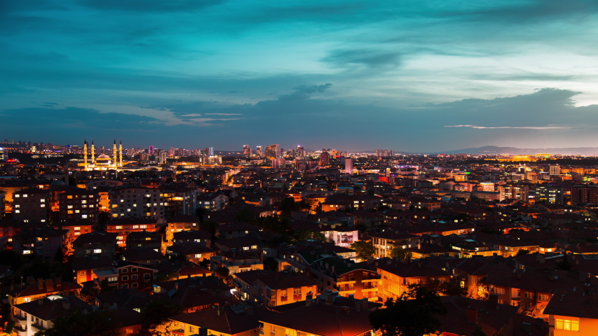 Day to night time lapse fast forward motion view from Ankara