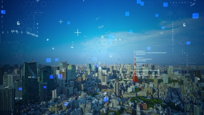 Smart city and communication network concept. 5G. IoT (Internet of Things). Telecommunication. Royalty-Free Stock Footage #1055106686