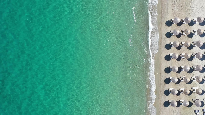 Emerald beaches in Greece from above   Shutterstock HD Video #1055108267