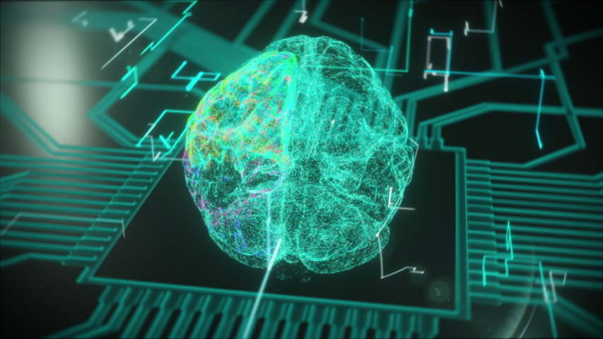 3D Render Animation of Human Brain Appearing on Electronic CG Circuit Board. Digital Brain Video Illustration Showing Neuronal Activity with Flying Lines. Artificial Intelligence (AI). Scientific | Shutterstock HD Video #1055110769