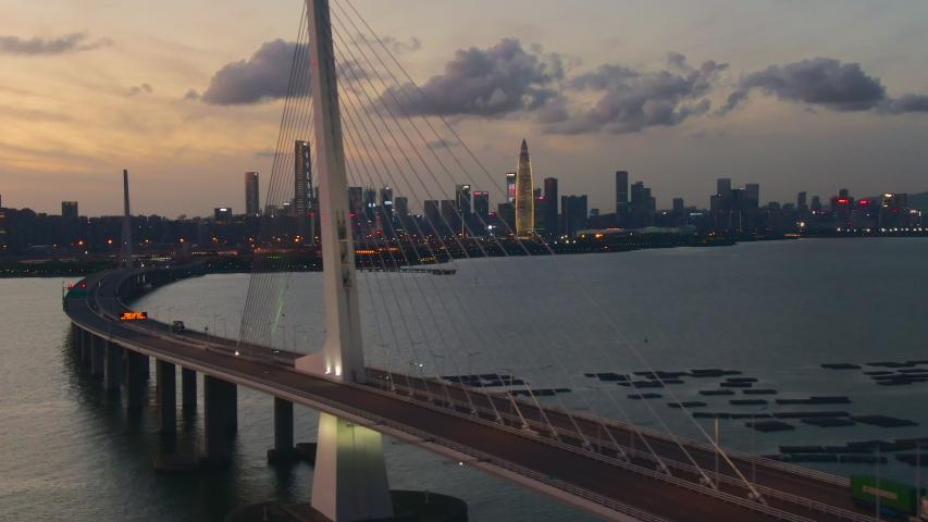 Jun 2020 : Hong Kong : China , Asia : Aerial view of ShenZhen Bay Bridge