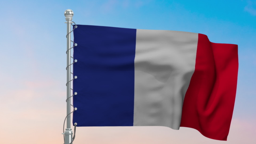 France flag waving on flagpole. Close up of France Flag blowing or waving in the wind with a colorful evening sky background.   Shutterstock HD Video #1055114624