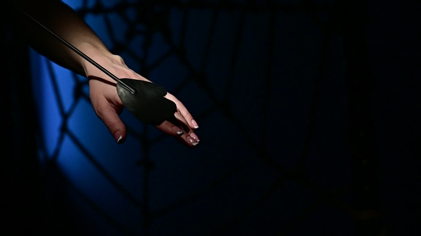 An unrecognizable woman demonstrates an elegant thin leather strip whip in a dark bedroom. Close-up of female hands with a bdsm toy. Pain and pleasure.Adult toy for slaps.